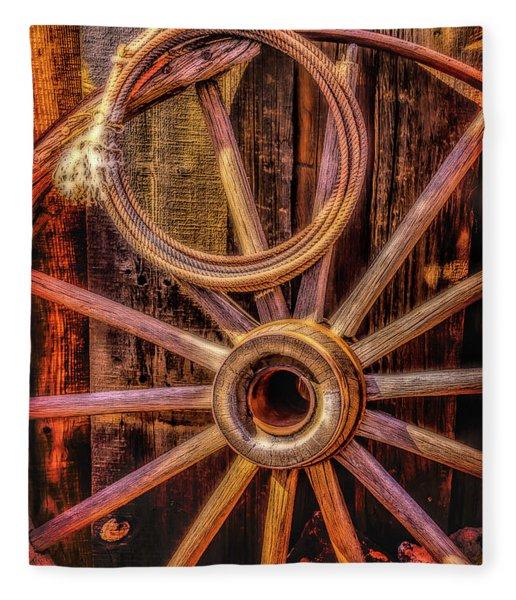 Old Wheel And Rope Fleece Blanket