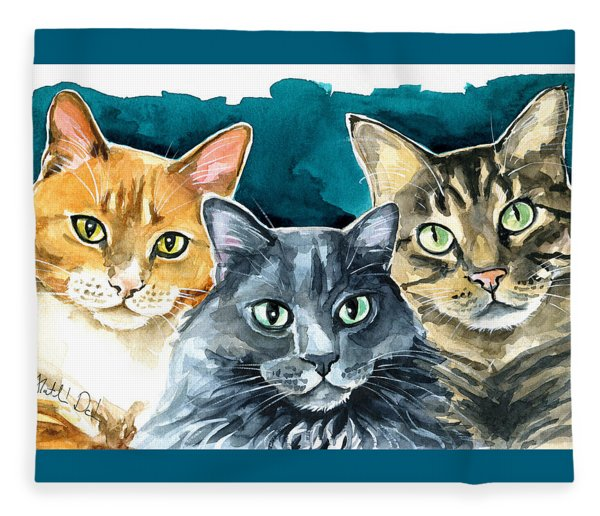 Oliver, Willow And Walter - Cat Painting Fleece Blanket