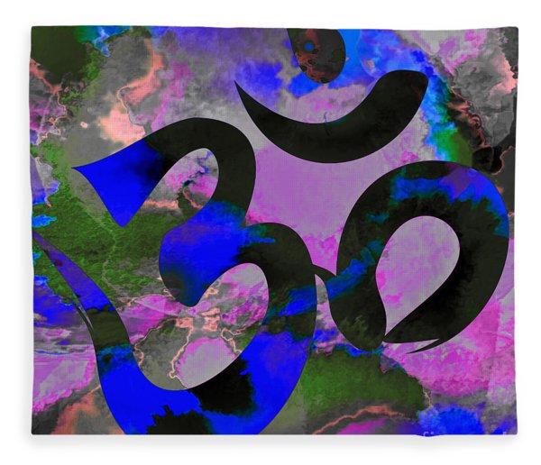 Om Symbol, Black, Blue And Purple Fleece Blanket