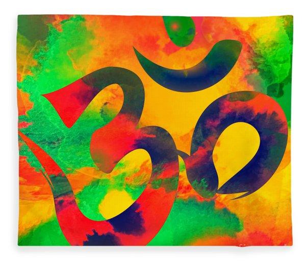 Om Symbol, Green, Yellow And Orange Multicolor Fleece Blanket