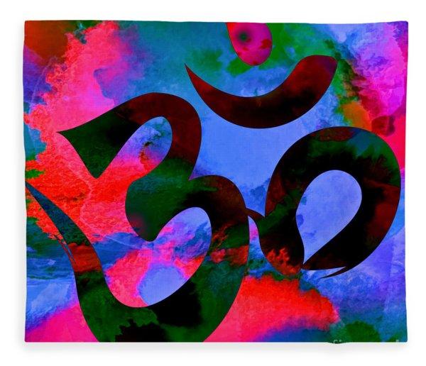 Om Symbol, Hot Pink And Blue Fleece Blanket