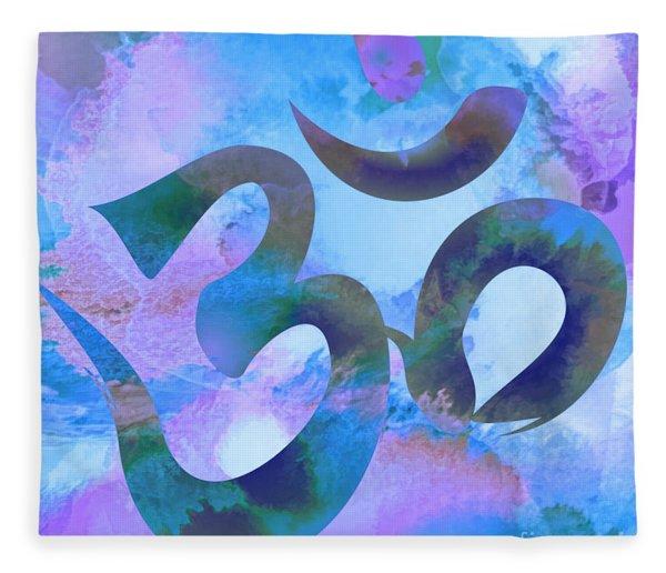 Om Symbol, Light Blue And Purple Pastel Fleece Blanket