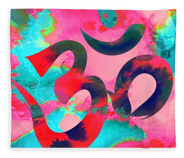 Om Symbol, Pink And Blue Fleece Blanket