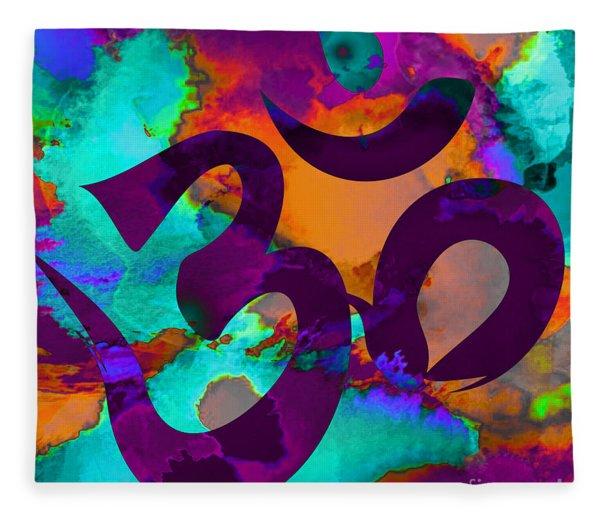 Om Symbol, Purple, Orange And Light Blue Fleece Blanket