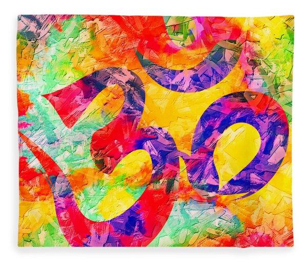 Om Symbol Rainbow 3d Texture Fleece Blanket