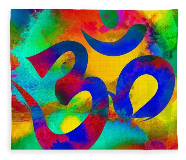 Om Symbol, Rainbow Fleece Blanket