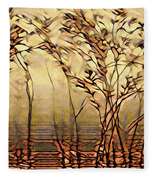 Fleece Blanket featuring the painting On An Untrodden Path by Susan Maxwell Schmidt