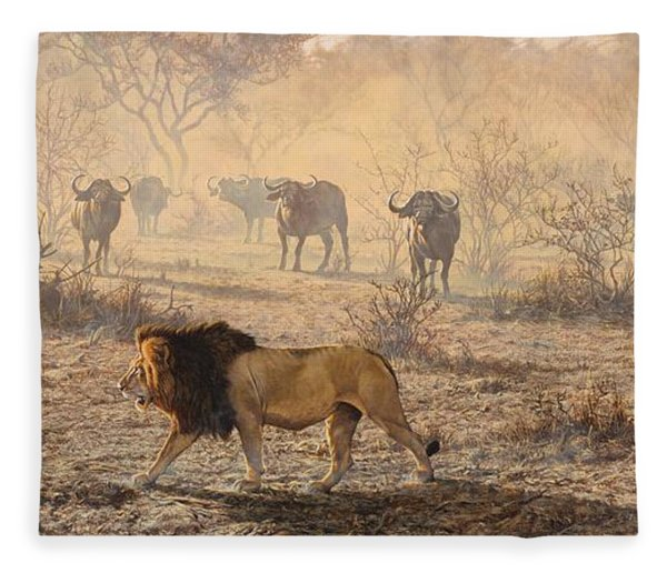 Fleece Blanket featuring the painting On Patrol by Alan M Hunt