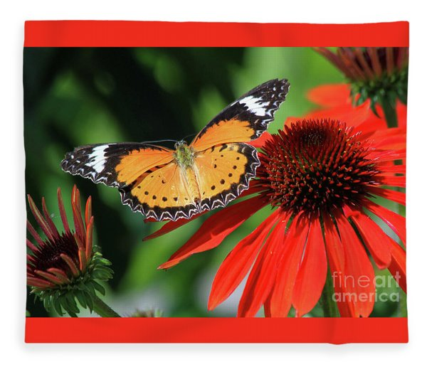 Orange Lacewing Fleece Blanket
