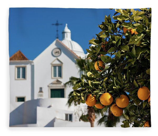 Fleece Blanket featuring the photograph Orange Tree And Church - Castro Marim, Portugal by Barry O Carroll