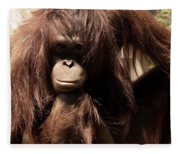 Orangutan Pose Fleece Blanket