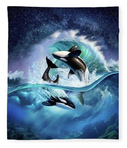 Orca Wave Fleece Blanket