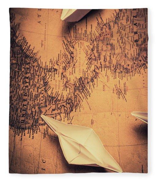 Origami Boats On World Map Fleece Blanket
