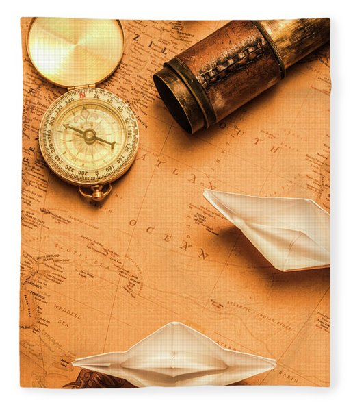 Origami Paper Boats On A Voyage Of Exploration Fleece Blanket