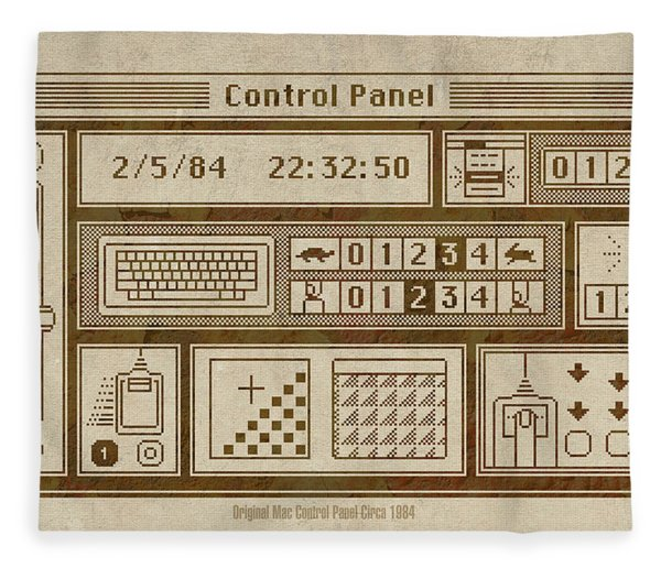 Original Mac Computer Control Panel Circa 1984 Fleece Blanket