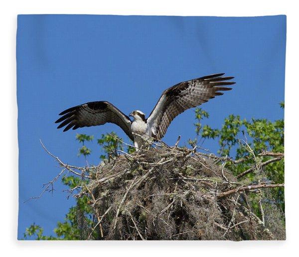 Osprey On Nest Wings Held High Fleece Blanket