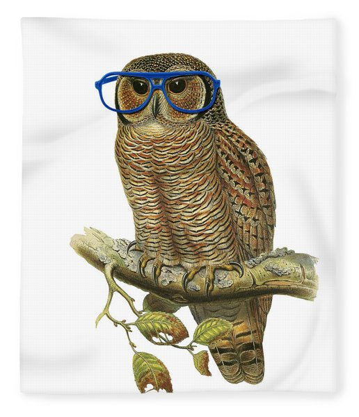 Owl Sitting On A Branch With Blue Glasses Fleece Blanket