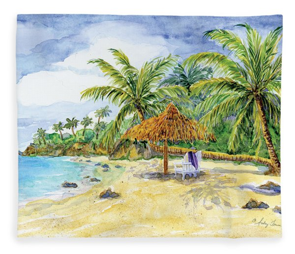 Palappa N Adirondack Chairs On A Caribbean Beach Fleece Blanket