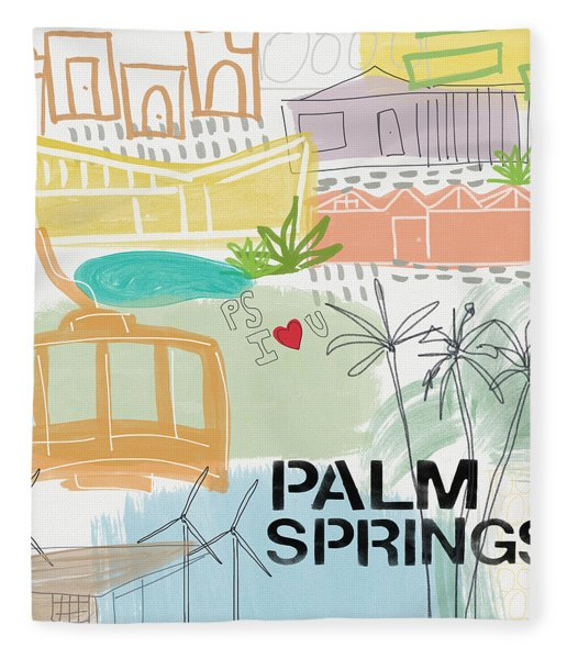 Palm Springs Cityscape- Art By Linda Woods Fleece Blanket
