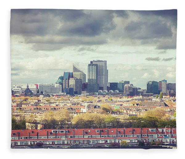 panorama of the Hague modern city Fleece Blanket
