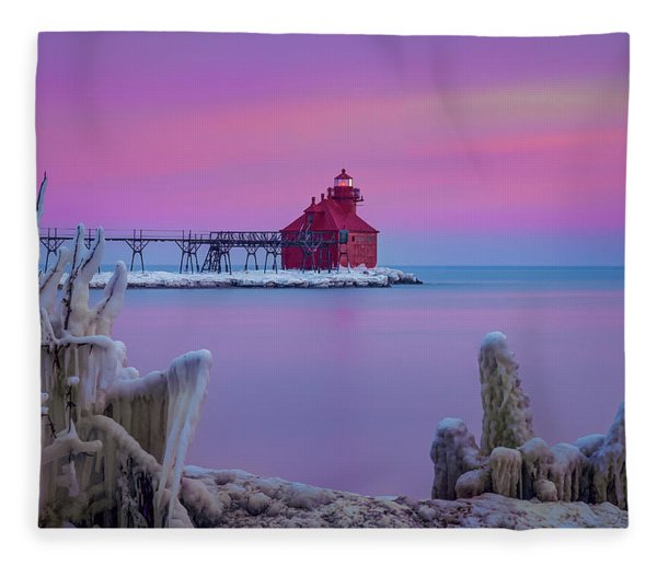 Pastel Lighthouse Fleece Blanket