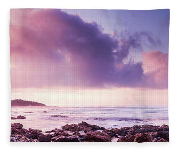 Pastel Purple Seashore Fleece Blanket