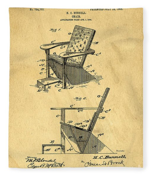 Patent For The First Adirondack Chair 1905 Fleece Blanket