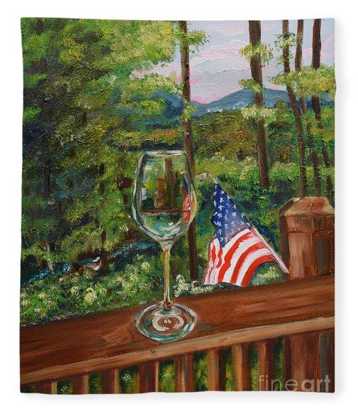 Star Spangled Wine - Fourth Of July - Blue Ridge Mountains Fleece Blanket