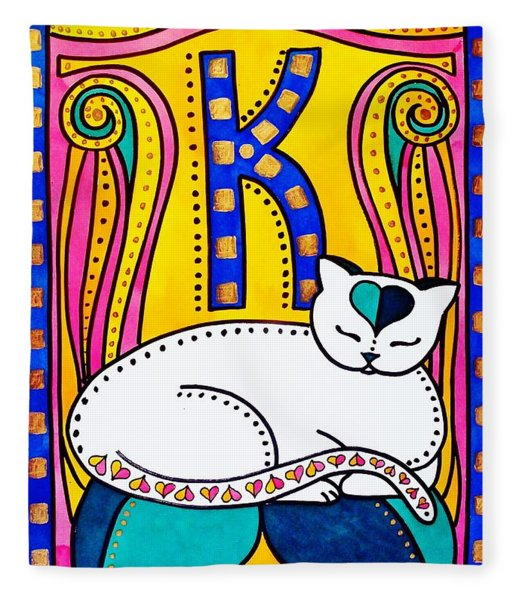 Peace And Love - Cat Art By Dora Hathazi Mendes Fleece Blanket