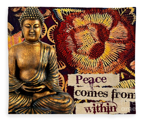 Peace Comes From Within. Buddha Fleece Blanket