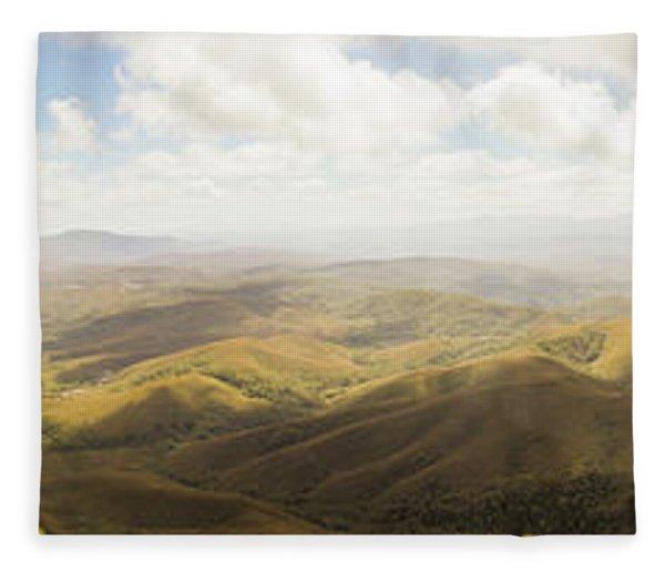 Peaceful Countryside Panorama Fleece Blanket