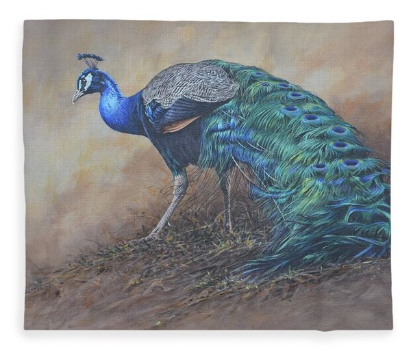 Fleece Blanket featuring the painting Peacock by Alan M Hunt