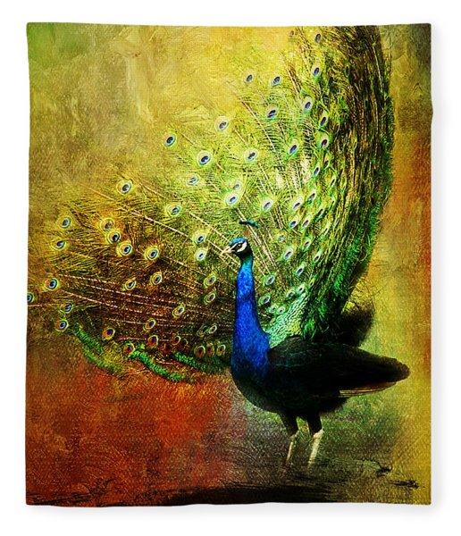 Peacock In Full Color Fleece Blanket