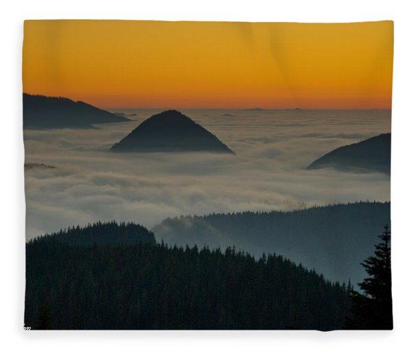Peaks Above The Fog At Sunset Fleece Blanket