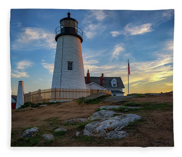 Pemaquid Point Lighthouse At Sunset Fleece Blanket