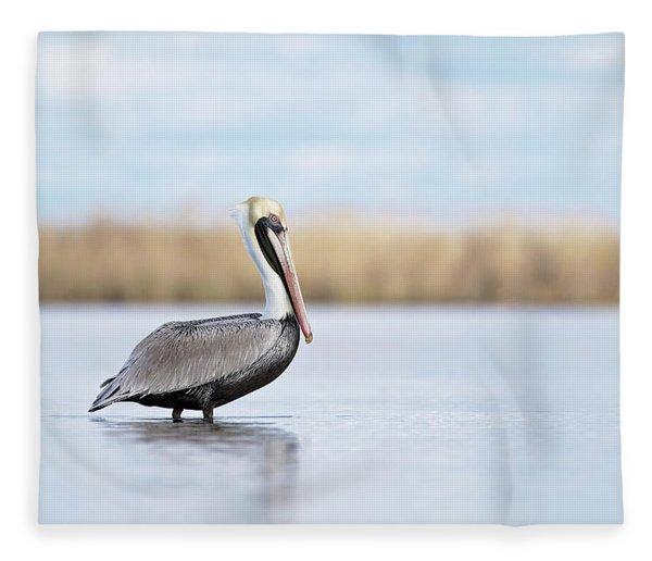 Pelican In Paradise Fleece Blanket