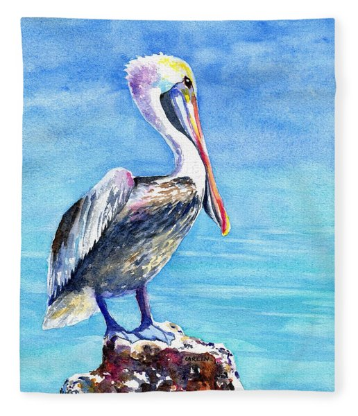 Pelican On A Post  Fleece Blanket