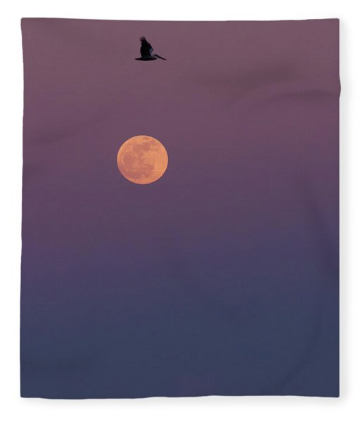 Pelican Over The Moon Fleece Blanket