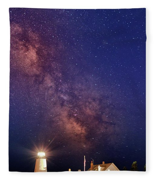 Pemaquid Point Lighthouse And The Milky Way Fleece Blanket