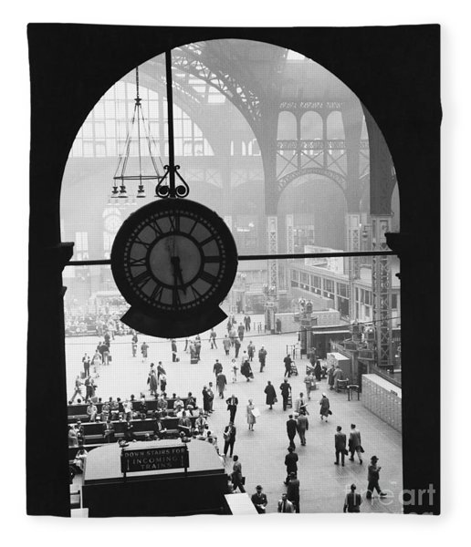 Penn Station Clock Fleece Blanket