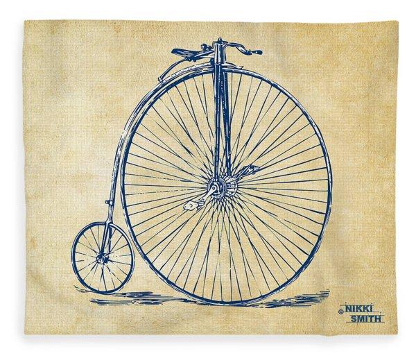 Penny-farthing 1867 High Wheeler Bicycle Vintage Fleece Blanket