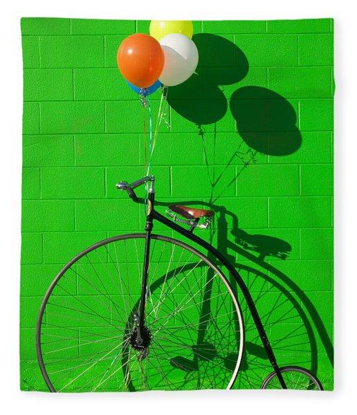 Penny Farthing Bike Fleece Blanket