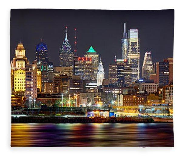 Philadelphia Philly Skyline At Night From East Color Fleece Blanket