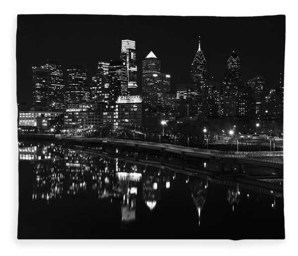 Philly And The Schuylkill Bw Fleece Blanket