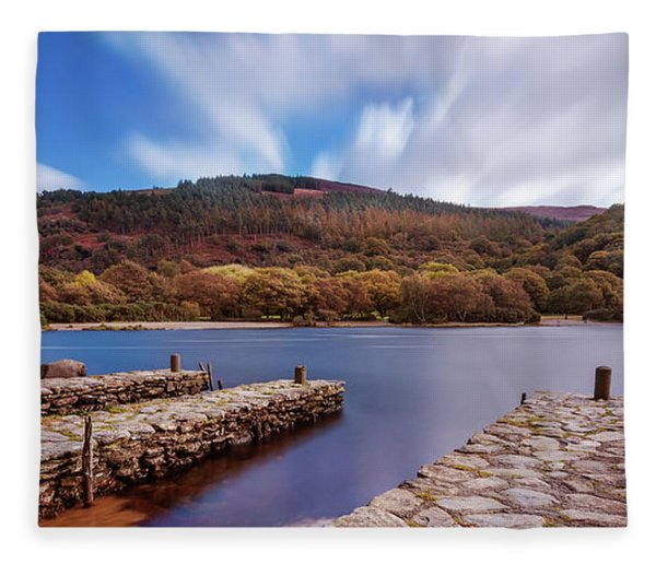 Fleece Blanket featuring the photograph Pier On The Upper Lake In Glendalough - Wicklow, Ireland by Barry O Carroll
