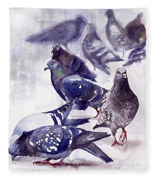 Pigeons Watercolor Fleece Blanket
