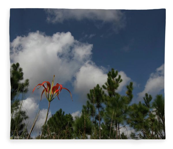 Pine Lily And Pines Fleece Blanket