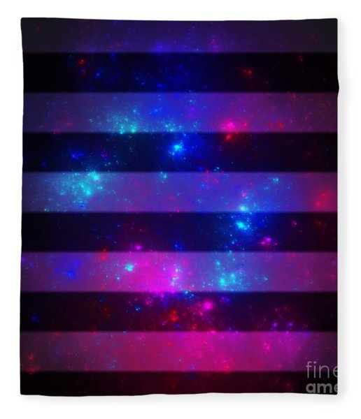 Pink And Blue Striped Galaxy Fleece Blanket