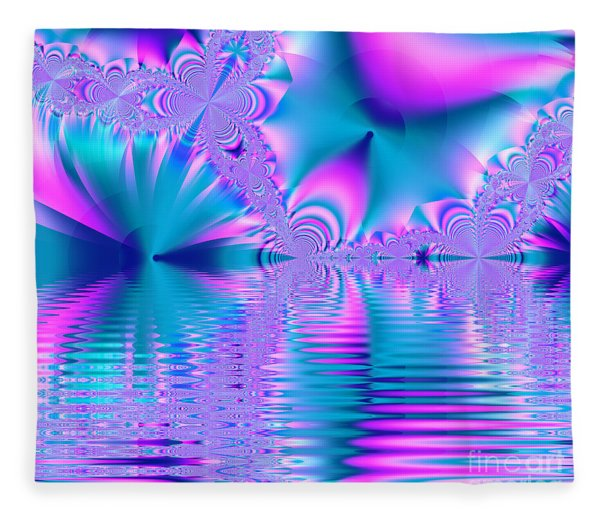 Pink, Blue And Turquoise Fractal Lake Fleece Blanket