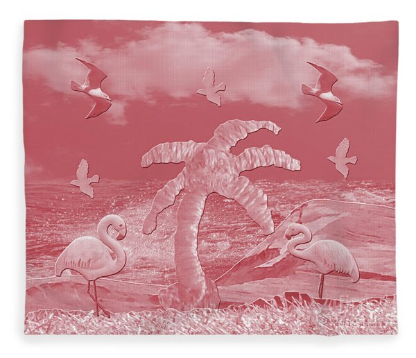 Pink Flamingo's Palms Fleece Blanket